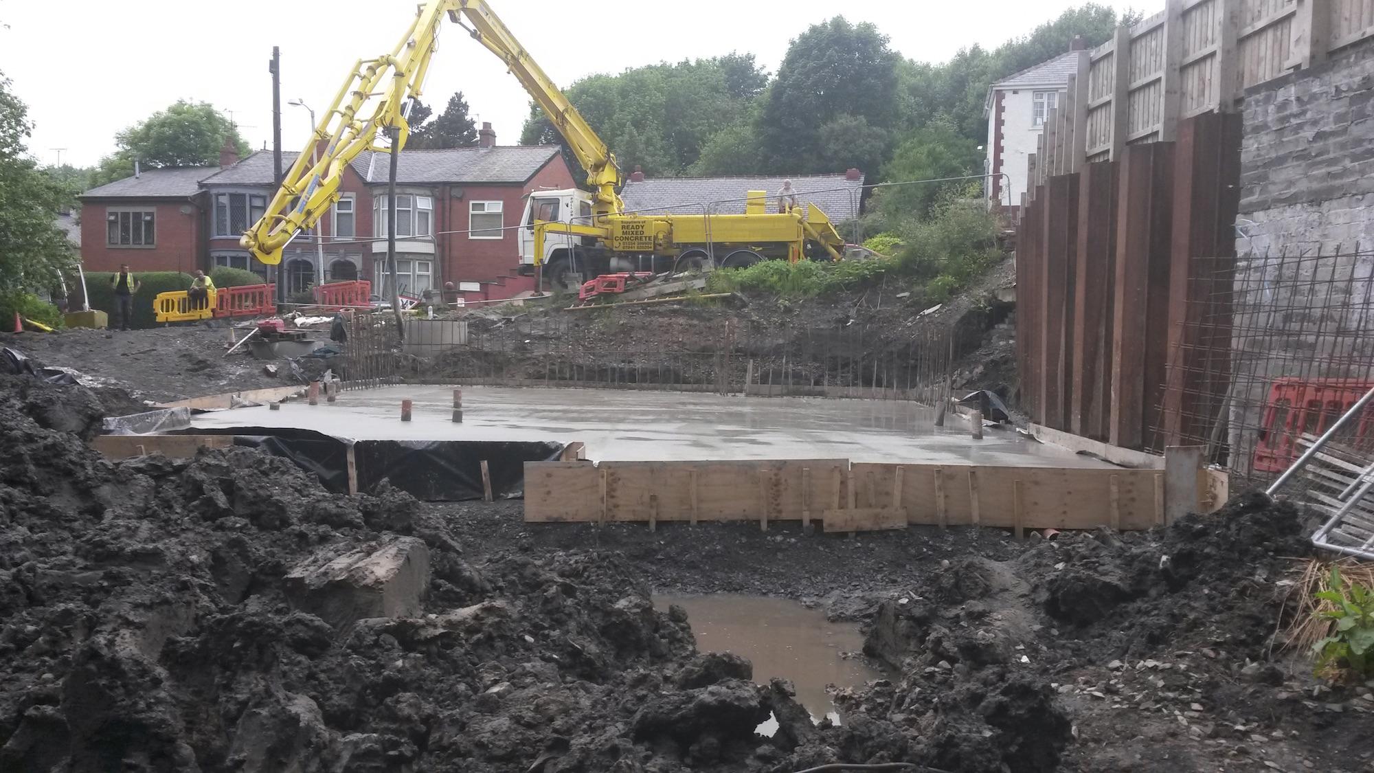 Piling in haslingden new build foundations basetec for Slab foundation vs basement