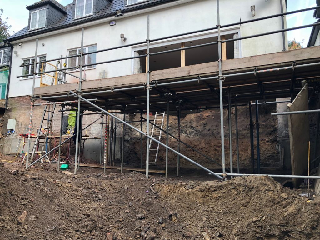 Basement construction in bolton swimming pool build basetec piling for Basement swimming pool construction